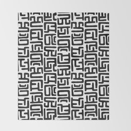Black And White African Abstract Shapes Throw Blanket