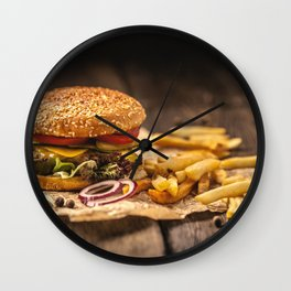 Tasty burger with french fries Wall Clock