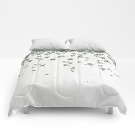 Gray Green Trailing Ivy Leaf Print Comforters