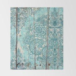Teal & Aqua Botanical Doodle on Weathered Wood Throw Blanket