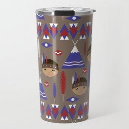 Seamless kids cute American indian native retro background pattern Travel Mug