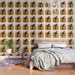 Cute Orca Whale Orange Doodle Splash Wallpaper