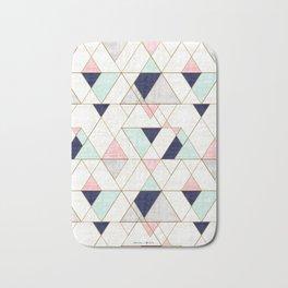 Mod Triangles - Navy Blush Mint Bath Mat