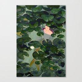 Mermaid in a pond Canvas Print