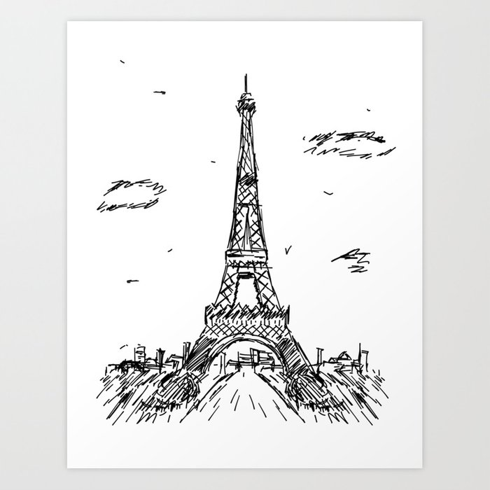Paris eiffel tower drawing art print by pda86 society6 paris eiffel tower drawing art print altavistaventures Choice Image