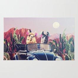 Llamas on the road Rug