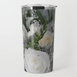 White Winter Roses Travel Mug