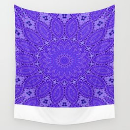 Lovely Healing Mandala  in Brilliant Colors: Purple and Blue Wall Tapestry