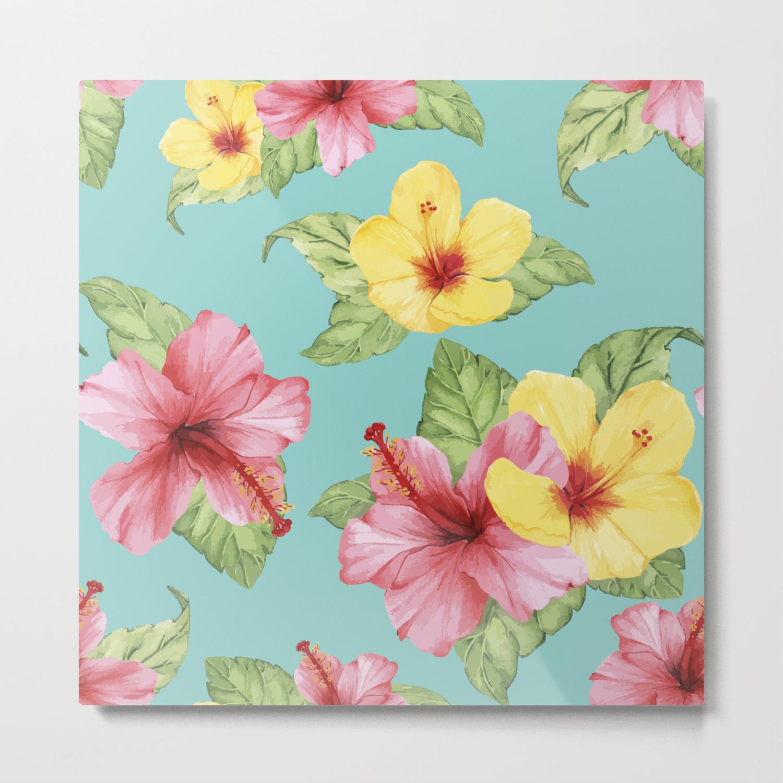 Tropical Hawaiian Hibiscus Floral Print Metal Print By