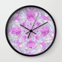 DELICATE LILAC & WHITE PHLOX FLOWERS  ABSTRACT PATTERNS Wall Clock