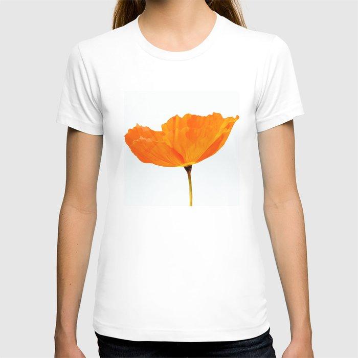 One And Only - Orange Poppy White Background #decor #society6#buyart T-shirt