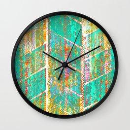 Turquoise Orange Boho Grunge Wall Clock