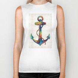 Nautical Anchor Art - Anchors Aweigh - By Sharon Cummings Biker Tank