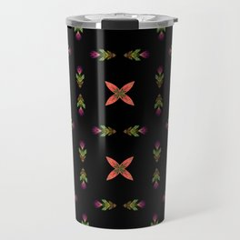 Floral On Black Travel Mug