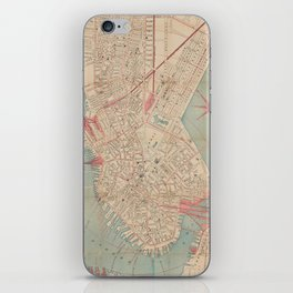 Vintage Map of Boston MA (1882) iPhone Skin