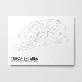 Turoa Ski Area, New Zealand - Minimalist Trail Art Metal Print