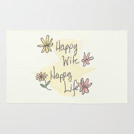 Happy Wife Happy Life quote Rug