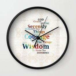 Colorful Serenity Prayer by Sharon Cummings Wall Clock
