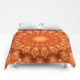 Mandala orange  Comforters