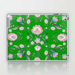 Folk Flowers in Green and Pink Laptop & iPad Skin