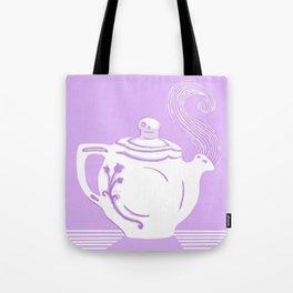 Lavender and White Teapot Printmaking Art Tote Bag