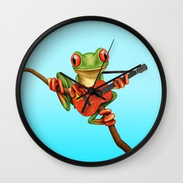 Tree Frog Playing Acoustic Guitar with Flag of China Wall Clock