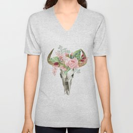 Bohemian bull skull with flowers Unisex V-Neck