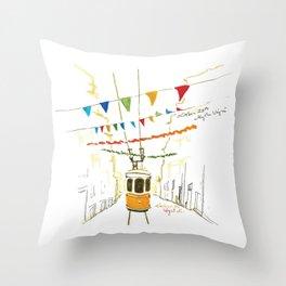Lisbon Aquarelle No.4 Throw Pillow