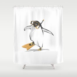 Penguin Is Ready To Dive Shower Curtain