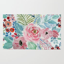 Pretty watercolor hand paint floral artwork. Rug