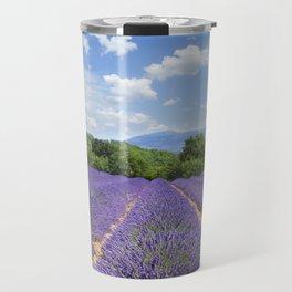 wooden shutters, lavender field Travel Mug