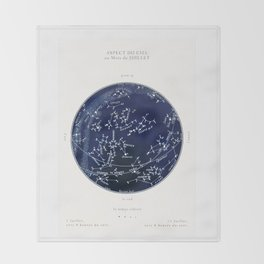 French July Star Maps in Deep Navy & Black, Astronomy, Constellation, Celestial Throw Blanket