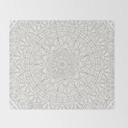 Gray Circle of Life Mandala on White Throw Blanket