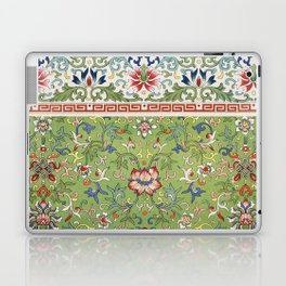 Asian Floral Pattern in Jade Green Antique Illustration Laptop & iPad Skin