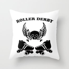 Roller Derby Wings Throw Pillow