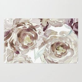 Earthy Painterly Floral Abstract Rug