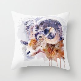 Bighorn Sheep watercolor portrait Throw Pillow