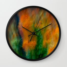Fleur Blur-Abstract Orange Safflowers & Green Leaves Wall Clock