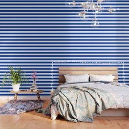 Royal azure - solid color - white stripes pattern Wallpaper