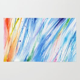 abstract beach watercolor painting Rug