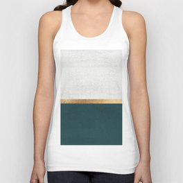 Deep Green, Gold and White Color Block Unisex Tank Top