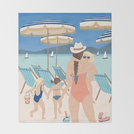 Family Beach Day Throw Blanket