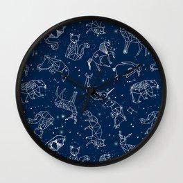 Origami Constellations - geometric animals constellations design - navy blue Wall Clock
