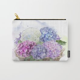hydrangea flowers in a basket . watercolor painting Carry-All Pouch