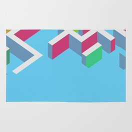 Vectors 3d colorfull maze on blue background Rug