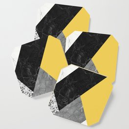 Black and White Marbles and Pantone Primrose Yellow Color Coaster