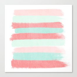Painterly Stripes abstract trendy colors gender neutral seaside coral tropical minimal Canvas Print