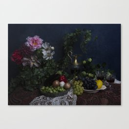 Classic  still life with flowers, fruit, vegetables and wine Canvas Print