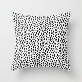 Dalmatian Spots (black/white) Throw Pillow