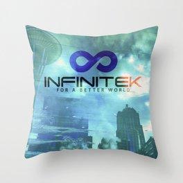 Space Needle - Infinitek Headquarters Seattle Throw Pillow